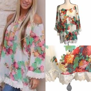 2tee Couture Chiffon Floral Tunic